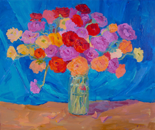 Kathleen Elsey Bouquet of Ranunculus Painting Workshop
