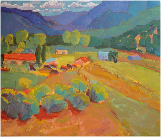 Kathleen Elsey paintings New Mexico Paintings Painting Workshops Peaceful Valley with Cows