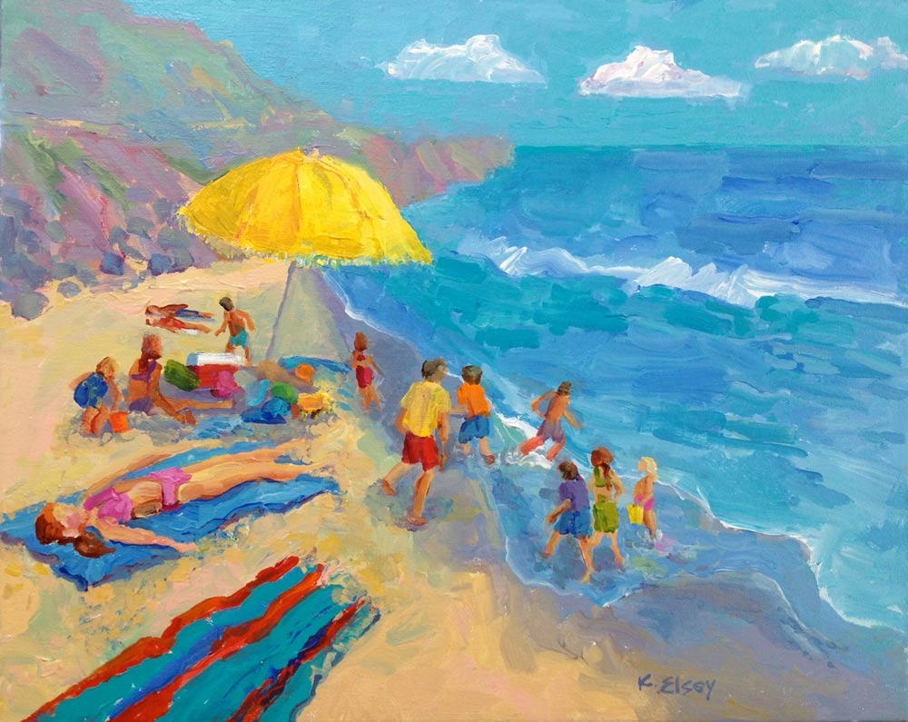 Kathleen Elsey Workshop Beach Painting Beach Sunny Umbrellas