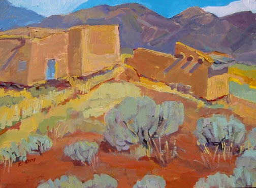 Kathleen Elsey Painting Workshop New Mexico Painting Morada with Taos Morada