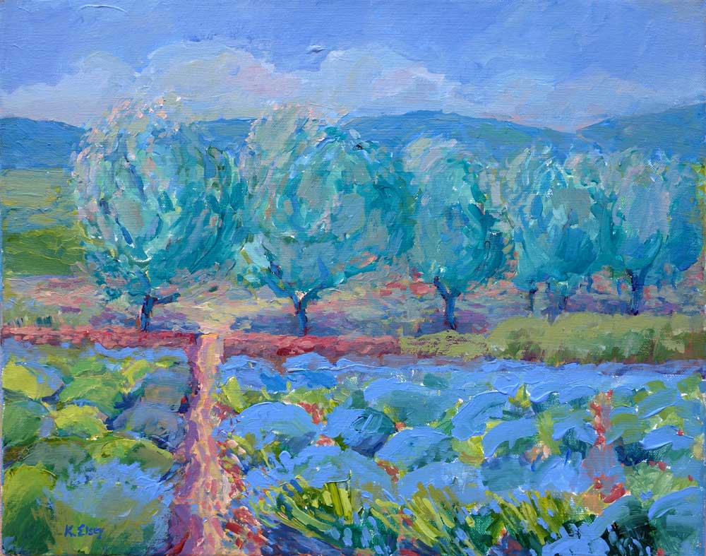 Kathleen Elsey Paintings Lavender and Olives Matanzas Creek Winery Sonoma County