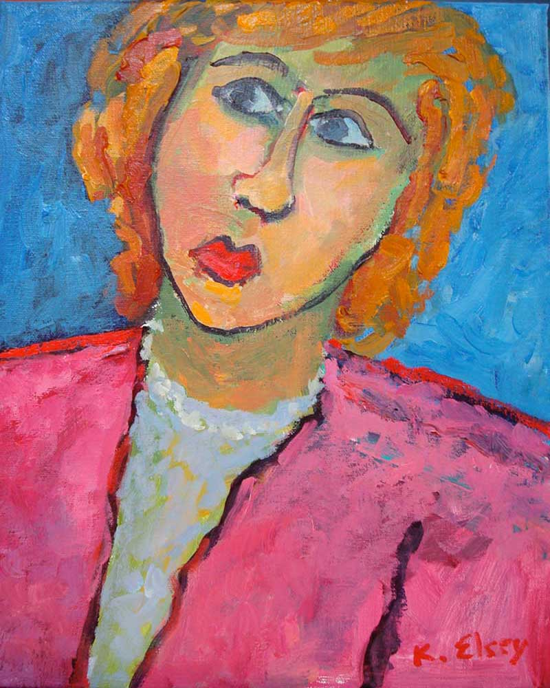 Kathleen Elsey self portrait painting Modigliani