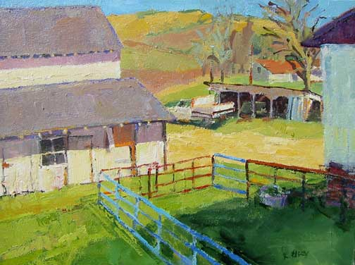 Kathleen Elsey paintings, California paintings barn painting Old Barn, Sedgwick